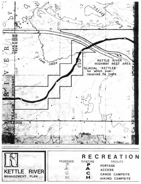 2 pages - Insert of Kettle River Recreation Management map, plate 4 here