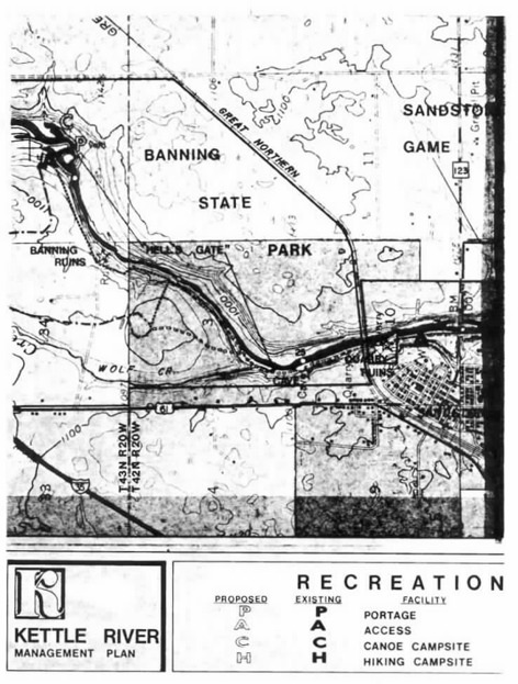 2 pages - Insert of Kettle River Recreation Management map, plate 5 here