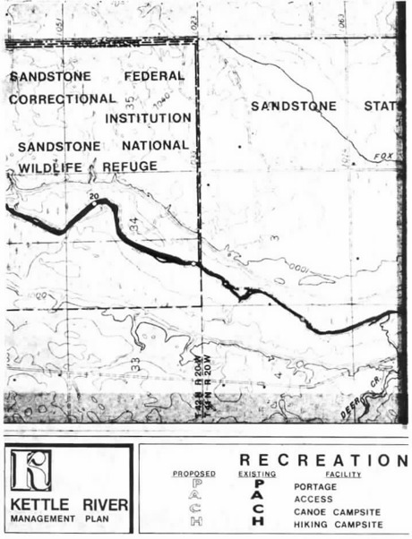 2 pages - Insert of Kettle River Recreation Management map, plate 6 here
