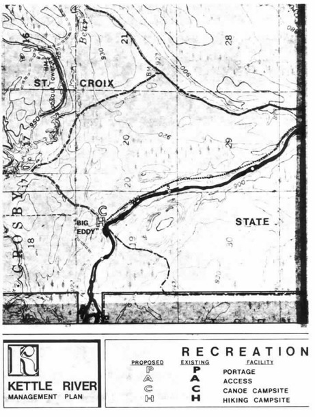 2 pages - Insert of Kettle River Recreation Management map, plate 8 here