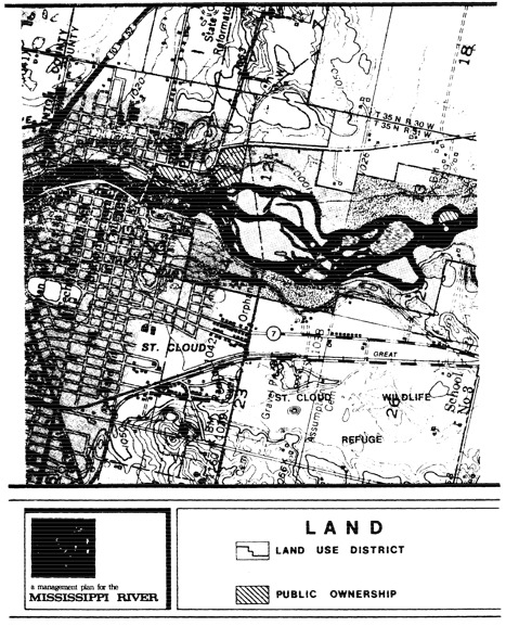 2 pages - Insert of Mississippi River Land Management map, plate 1 here