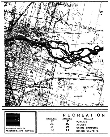 2 pages - Insert Mississippi River Recreation Management map, plate 1 here
